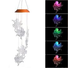 LED Solar Color-Changing Angel Doll Shaped Wind Chime Home Garden Decoration Supplies Aeolian Bells