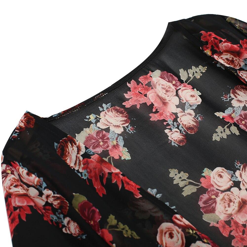 EIFFTER New Fashion Women Ladies Sheer Floral Chiffon Kimono ...