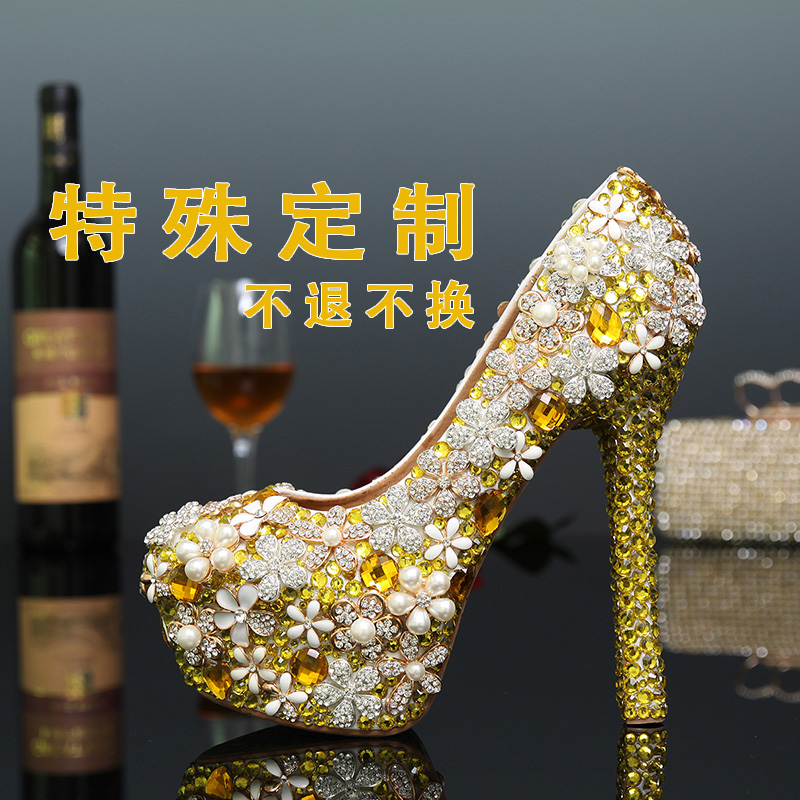 2018 gold flower shoes rhinestone wedding shoes distinguished quality bridal shoes wedding formal dress shoes bridesmaid shoes