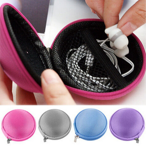 1PC Candy Color Mini Zipper Earphone Headphone SD Card Storage Bag Box Carrying Pouch Round Case For Outdoor Travel Organizing
