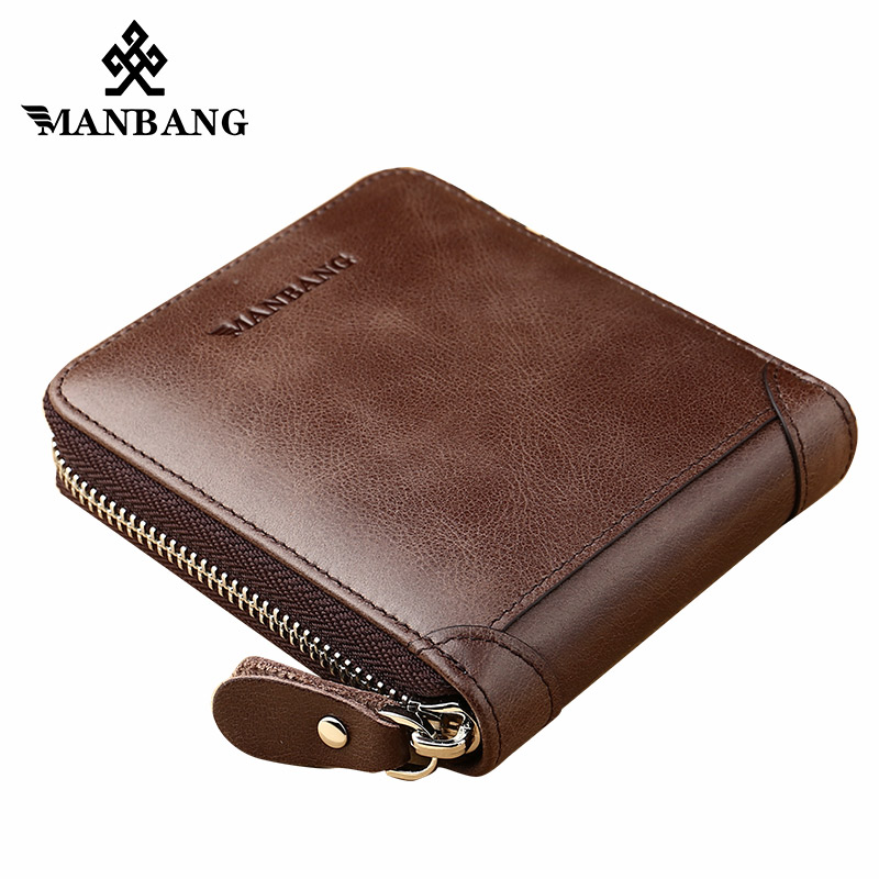 ManBang 2018 New Fashion Genuine Leather Men Wallet Small Men Walet Zipper Male Short Coin Purse Brand High Quality fashion genuine leather men wallets small zipper men wallet male short coin purse high quality brand casual card holder bag
