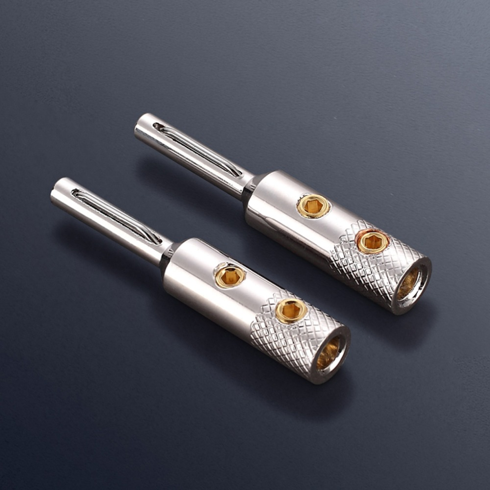 Free shipping 8PCS Viborg Audio 99 998 Pure Copper Rhoidium Plated Banana Plug Speaker Cable Plug