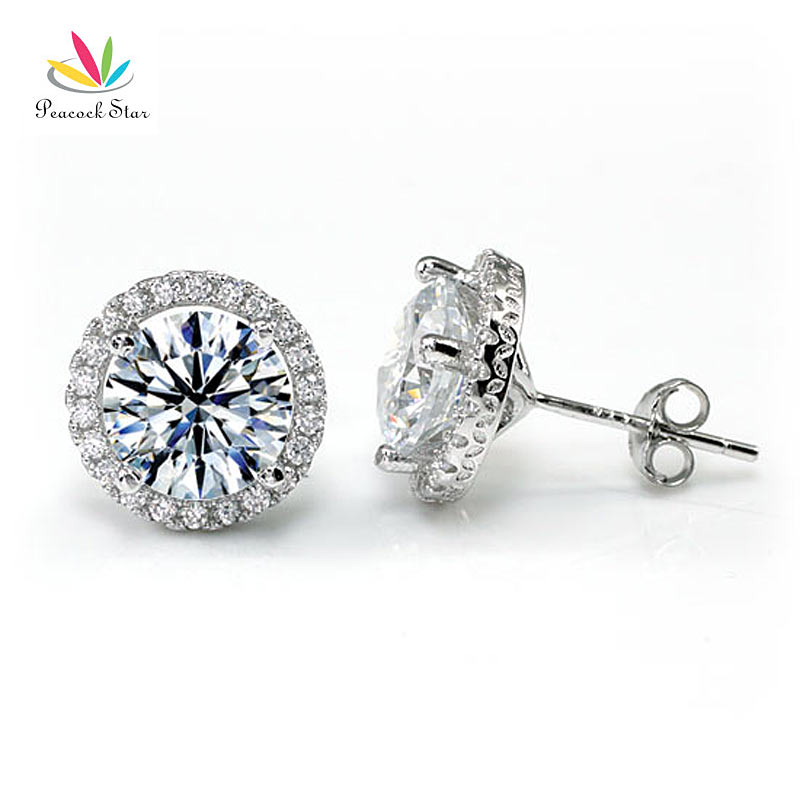 979d1c2e9 Peacock Star Halo Stud Earrings Solid 925 Sterling Silver 4 Carat Round Cut  Created Diamond Bridal Bridesmaid Jewelry CFE8102-in Stud Earrings from  Jewelry ...