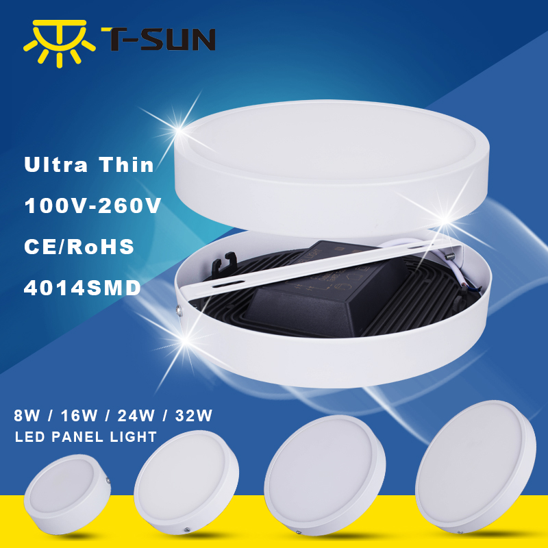 T-SUNRISE 8W/16W/24W/32W Round/Square Led Panel Light Surface Mounted Downlight lighting Led ceiling down AC85-265V