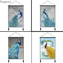 Peacock Series Wall Tapestry Home Decoration Background Cloth Meter Box Cover Cotton Linen Art Painting Fun Hanging