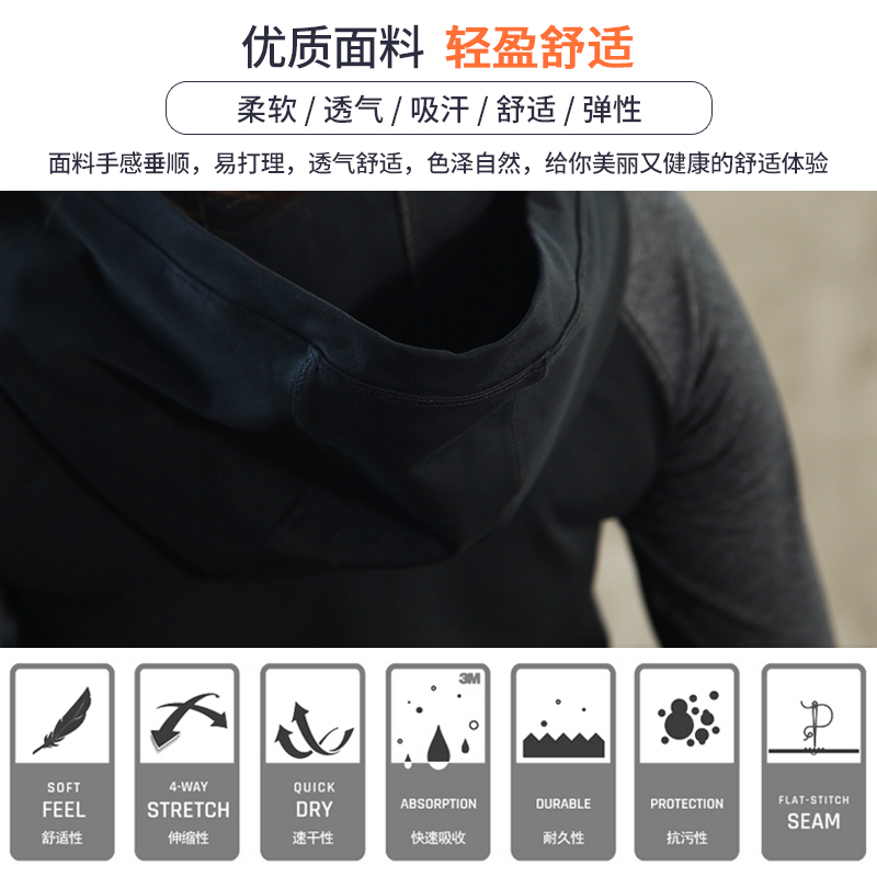 Più il Formato L 4XL Donne di Usura di Sport maniche lunghe con cappuccio + elastico della mutanda con cravatta Palestra Sport Runing Yoga di Grandi Dimensioni esercizio Della Ragazza - 4
