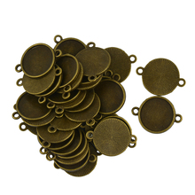 40pcs lank Bezel Base for 16mm Blank Base connector Cabochon Jewelry DIY Connector Vintage Bronze charms for jewelry making