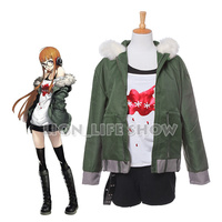 Persona 5 Futaba Sakura Navi Outfit Faux Fur Coat Collar Cosplay Costume Set