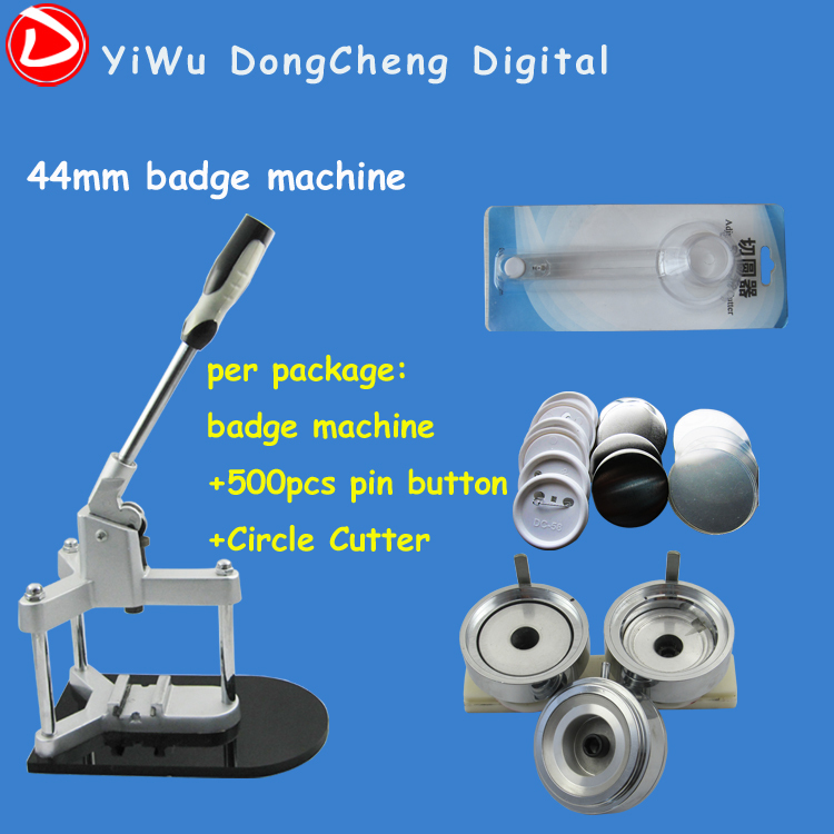 Free Shipping Badge Button Machine Package 1.3/4(44mm) Badge Machine with 500set Button +Circle Cutter free shipping new pro 1 1 4 32mm badge button maker machine adjustable circle cutter 500 sets pinback button supplies