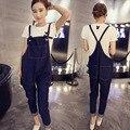 S-4XL Macacão Maternidade Jeans Calças Para As Gestantes Calças Primavera Outono Luz Azul Denim Suspender Macacão Plus Size