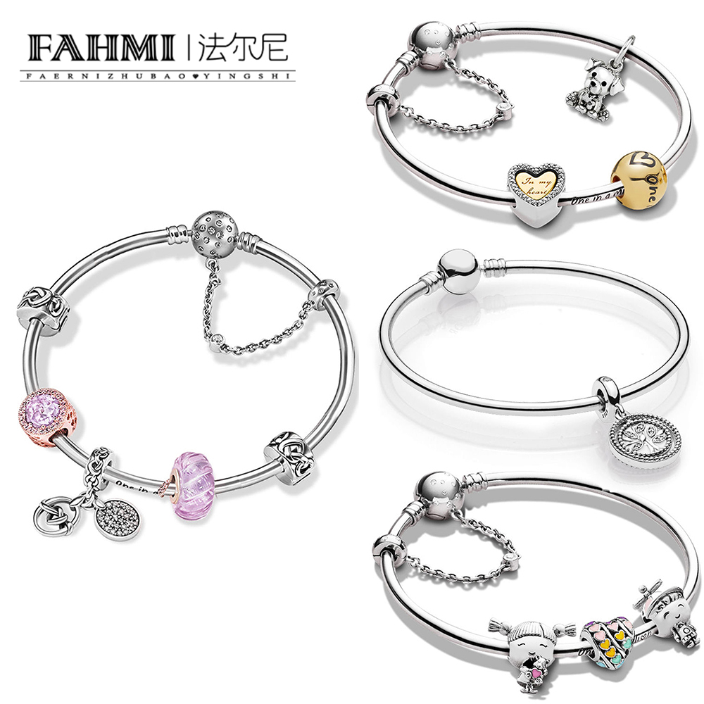 FAHMI 100% 925 Sterling Silver  Family Tree Bangle Gift Set  Fun Childhood Love Knot Only Love Everlasting Bracelet SetFAHMI 100% 925 Sterling Silver  Family Tree Bangle Gift Set  Fun Childhood Love Knot Only Love Everlasting Bracelet Set