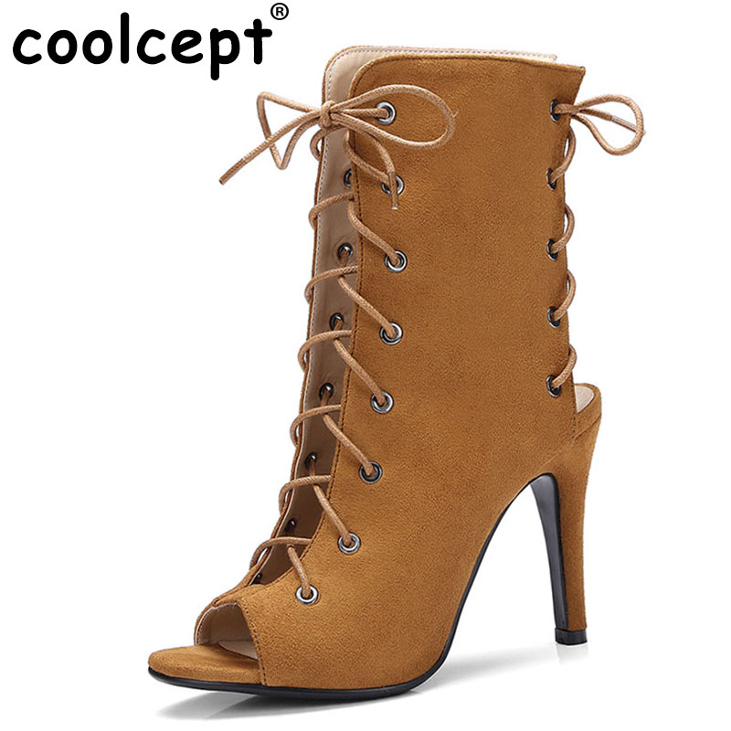 Coolcept Women Gladiator High Heels Sandals Lace Up Open Toe Heel Shoes Women Cross Strap Sandalias Party Footwear Size 34-43 new fashion 2017 army green sandales talon femme lace up high heels party shoes women cross tied strappy gladiator sandals women