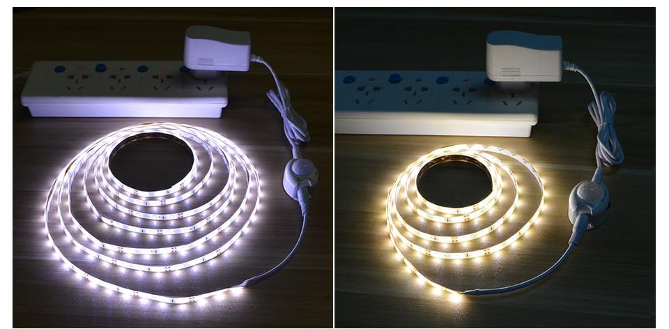 HTB1AjlrfQfb uJjSsrbq6z6bVXag AIMENGTE DC12V LED Strip Motion Sensor Light Auto ON/OFF Flexible LED Tape 1M 2M 3M 4M 5M SMD2835 Bed light with power supply