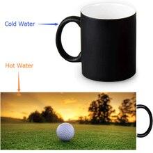 Golf Ball Zauberbecher Kundenspezifisches Foto Wärme Farbwechsel Morph Becher 350 ml/12 unze Kaffee Tasse Bier Milch becher Halloween Geschenk