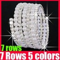 (23% off on wholesale) 7 Rows Crystal Cubic Zirconia Pearl Bracelet Simulated Rhinestone CZ Diamond Bracelet Z4