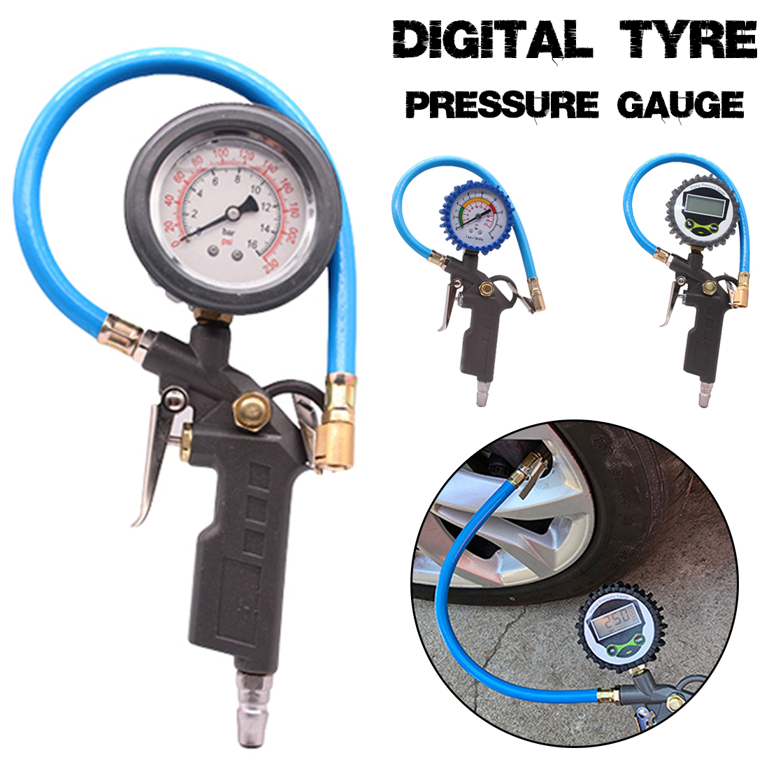 220PSI Car Tire Air Pressure Gauge Dial Meter Vehicle Inflation Gun Handle Grip Trigger Inflator For Auto