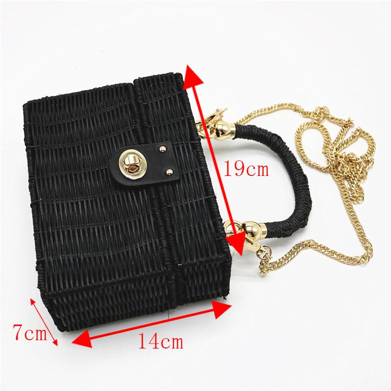 New Rattan Black Straw Shoulder Bag Women Hand-Woven Messenger Bag Summer Beach Square Chain Box Straw Handbag Drop Shipping 5