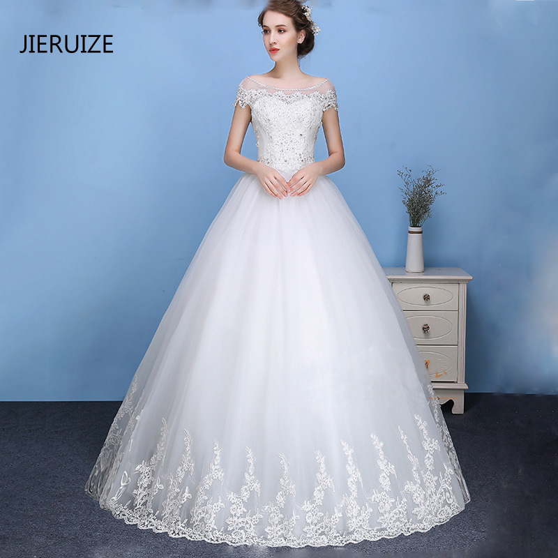 c5987a4c39582 JIERUIZE White Lace Appliques Ball Gown Cheap Wedding Dresses 2018 Lace Up  Back Short Sleeves Wedding Gowns robe de mariee