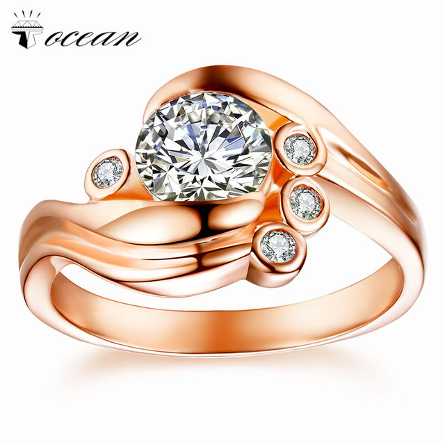 Tocean Rose Gold Color Wedding Rings for Women Oval Cut AAA Zircon Engagement Femme Bijoux Bague Size 5 6 7 8 9 10 11 12 W034