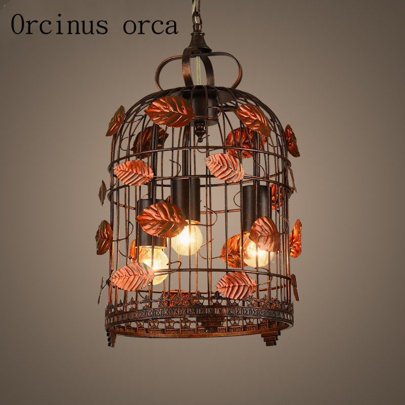 Industrial wind creative iron cage pendant lamp bedroom living room restaurant Chinese flower bird cage pendant lamp lang qing court iron creative flower green dill multilayer wooden living room interior floor spider showy flower pots