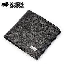 Bison denim männer brieftasche aus echtem leder kreditkarteninhaber marke rindsleder geldbörse kreditkarte brieftasche männer lange brieftasche freies verschiffen