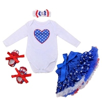 Love America Flag 4th Of July Baby Outfit Set Bodysuits Tutu Skirt 4PCS Newborn Baby Girl Clothes Toddler Infant Clothing