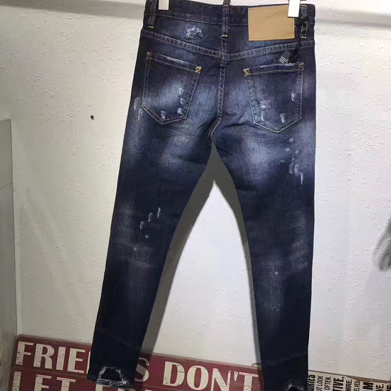 Vaqueros Estrechos Las Nueva Cintura Mujer De Mujeres 2017 Casual Mediados Azul Agujero Pantalones Ripped Para Delgado HwqEnCx