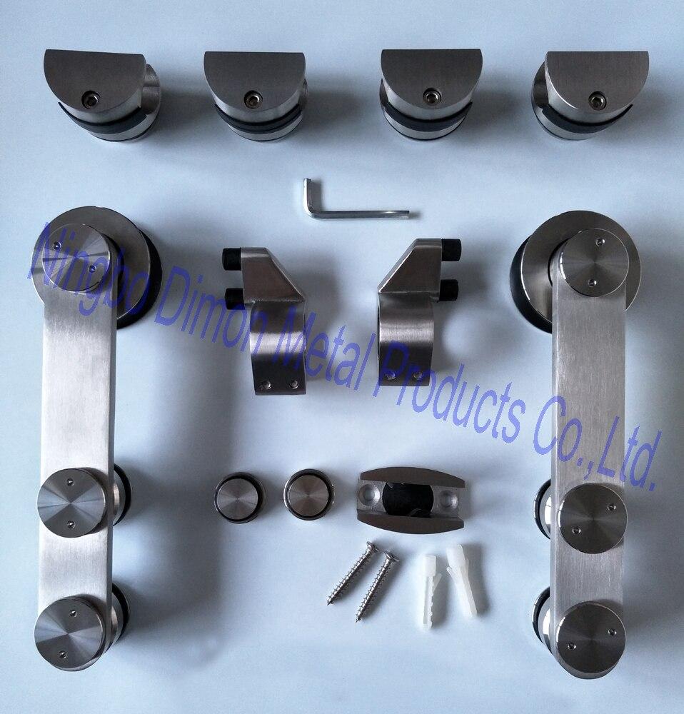 Dimon acier inoxydable 304 matériel de porte en verre matériel de porte coulissante matériel de porte coulissante DM-SDG 7002 sans rail coulissant
