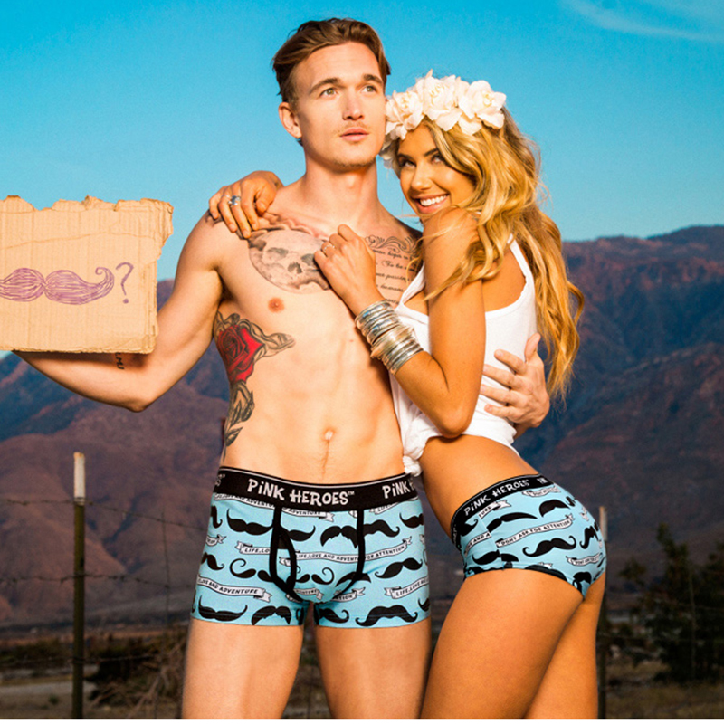 Pink Hero Fashion Couple Underwear Printed Hot Men Boxers Women   Panties   Gift popular Lovers Valentine's Day present Moustache