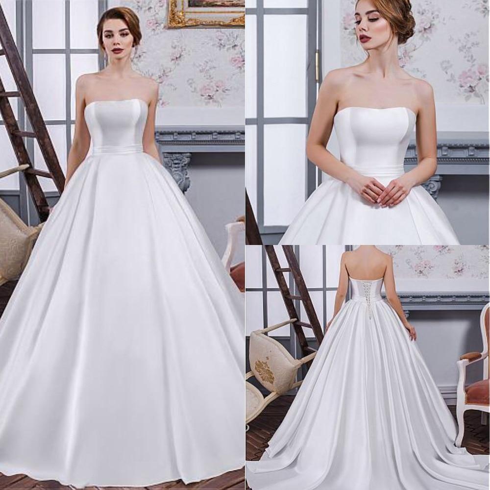 Fabulous Satin Strapless A Line Wedding Dress Pure White