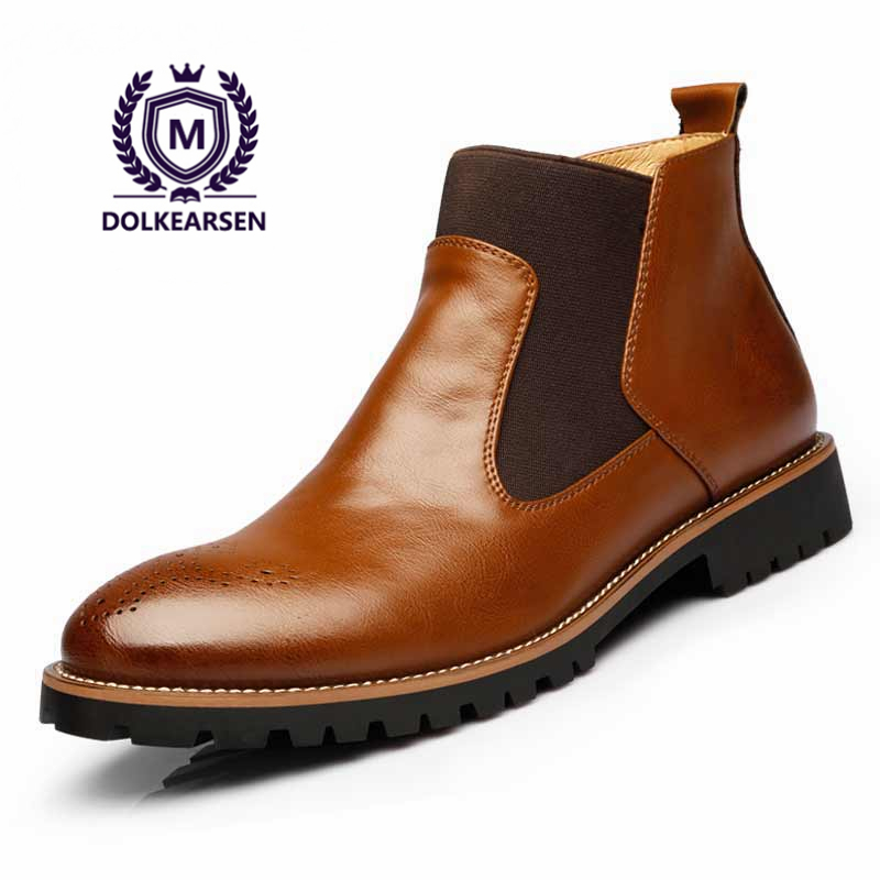 DOLKEARSEN 2017 Autumn Men Boots Vintage Chelsea Boots Pointed Toe Kanye West Real British Style Leather Fashion Men Ankle Boots