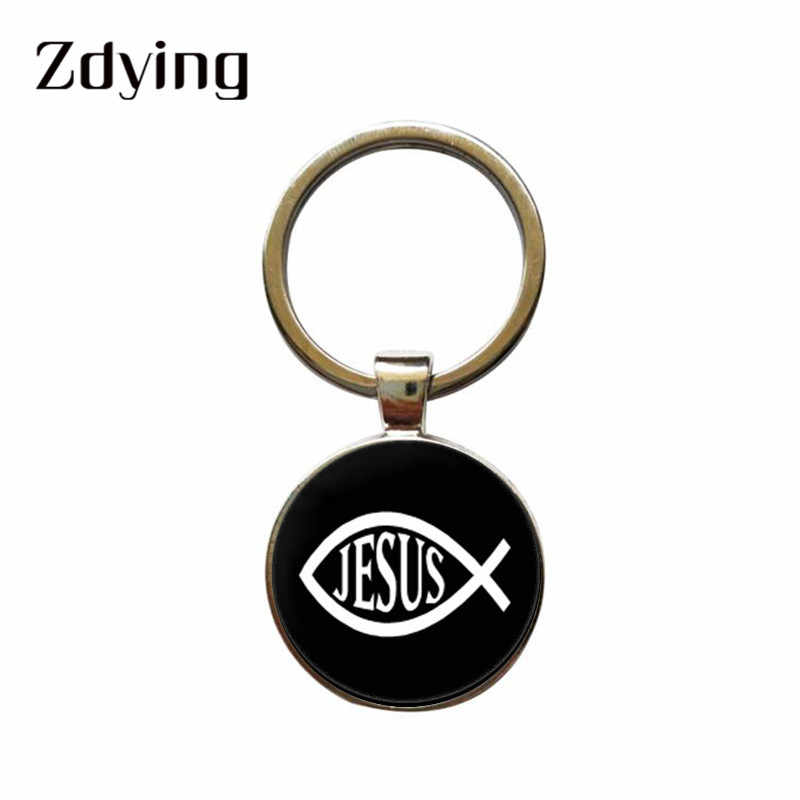 ZDYING I Love Jesus Sign Symbol Keychain Glass Cabochon Dome Keyrings Holder Car Bag Accessories Religious Souvenir Gift JU010