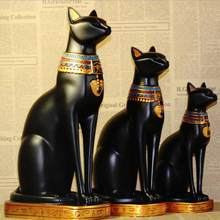 Resin Cat Statue Crafts Egyptian Cat God Ornament Home Decor Creative Gifts Home Fengshui Lucky Crafts Animal sculpture 05395(China)