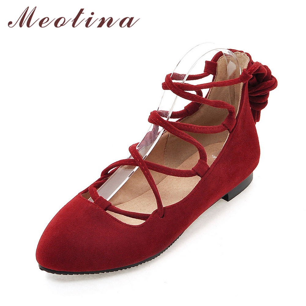 Meotina Women Shoes Ladies Flat Shoes Pointed Toe Ballerina Flats Gladiator Shoes Cutout Lace Up Footwear Red Big Size 10 42 43 pu pointed toe flats with eyelet strap