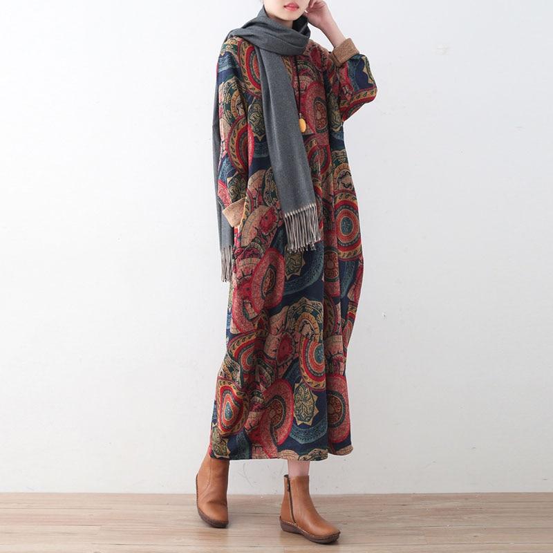 Johnature Women พิมพ์ดอกไม้ชุดหนา Robe 2019 ฤดูหนาวใหม่แขนยาว O Neck ถักผ้าฝ้ายเสื้อผ้าผู้หญิงชุด-ใน ชุดเดรส จาก เสื้อผ้าสตรี บน   3