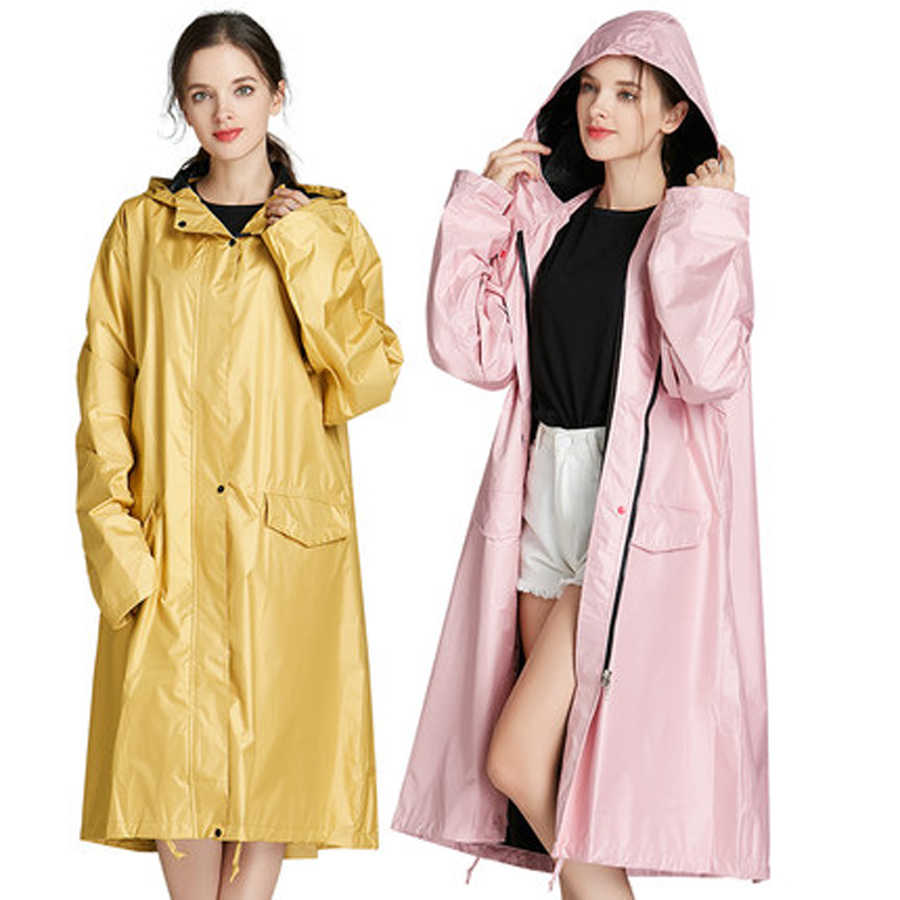 Fashion EVA Women Raincoat Thickened Waterproof Rain Coat Women Clear Transparent Camping Manteau Femme Capa Chuva 40YY116