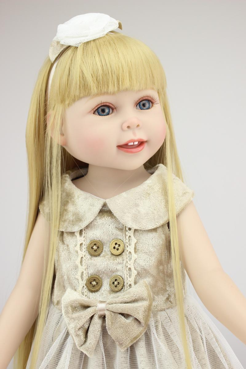 Vinyl Princess 45cm Real Girl Dolls 18 Inch Realistic Baby Birthday Gift Handmade Dress American Girl Doll Girl Playmate Toy [mmmaww] christmas costume clothes for 18 45cm american girl doll santa sets with hat for alexander doll baby girl gift toy