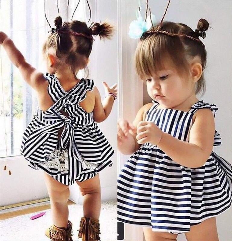 Backless Kleid Double-layer-bogenbaumwollunterhosen 2 Stücke Gesetzte Mädchen-kleidung 2016 Neue Baby Mädchen Kleidung Sets 2 stücke Sommer Sunsuit Outfit Streifen