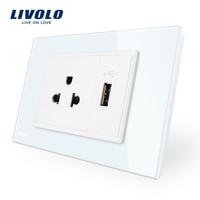Livolo Us Power Socket Usb Socket White Crystal Glass Panel AC 110 250V 16A Wall Power