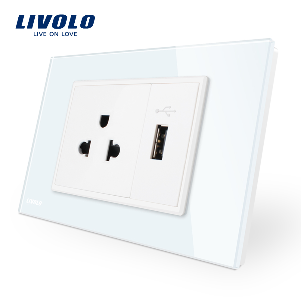 Livolo us Power Socket with usb charger, White Crystal Glass Panel, AC 110~250V 16A Wall Power Socket, VL-C9C1US1U-11 15a 16a south africa socket and double ubs socket wallpad 146 86mm white glass 2 usb ports and 16a sa switched socket with led