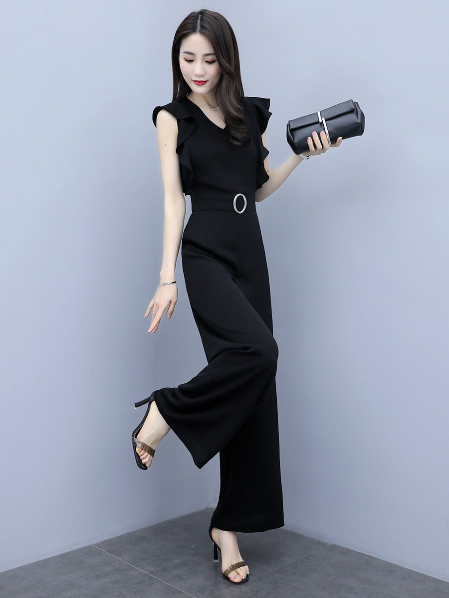 Black Elegant Office Lady Solid Ruffle Sleeveless Rompers Summer Workwear  Women Jumpsuits