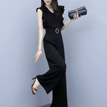 Black Elegant Office Lady Solid Ruffle Sleeveless Rompers Su