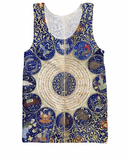 Parte Superior Do Tanque Sol Lua planetas aspectos astrológicos horóscopo e sensível anjos impressão colete camisa camisa para mulheres dos homens
