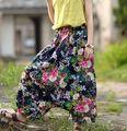 Women Vintage Nepal National Floral Printed Harem pants Cotton Linen Capris Ladies Loose Elastic Waist Plus Size Harem Trousers