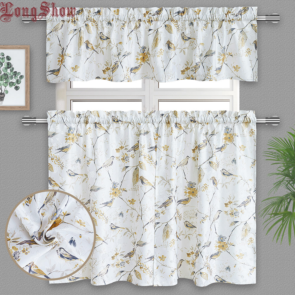 1Set 3pcs Creative Home Decorative Pastoral Style Jacquard Fabric Kitchen Door Curtains