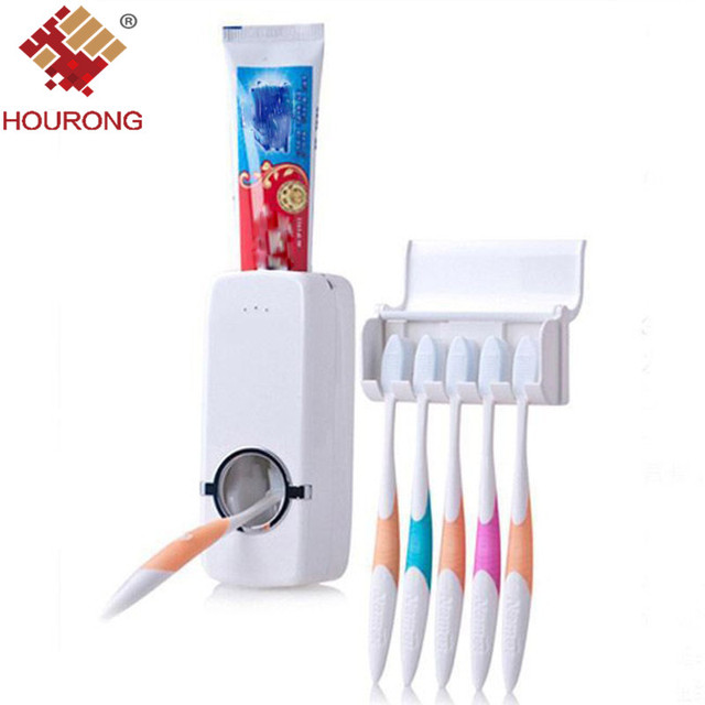 1pcs Fashion Automatic Toothpaste Dispenser Toothbrush Holder Set Wall Mount Rack Bath Bathroom Accessories