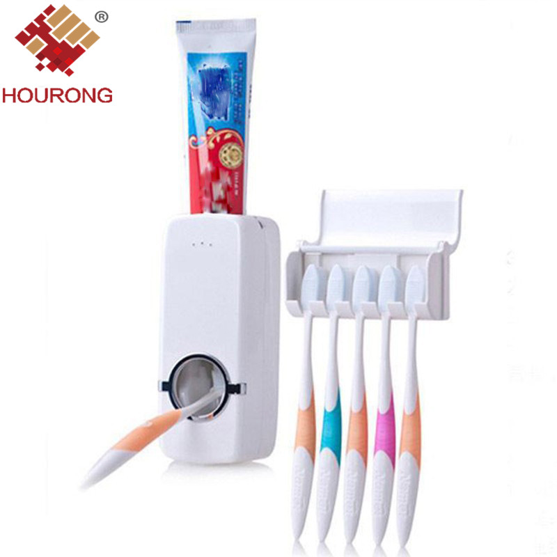 1Pcs Fashion Automatic Toothpaste Dispenser +Toothbrush Holder Set Wall Mount Rack Bath Oral Bathroom Accessories image