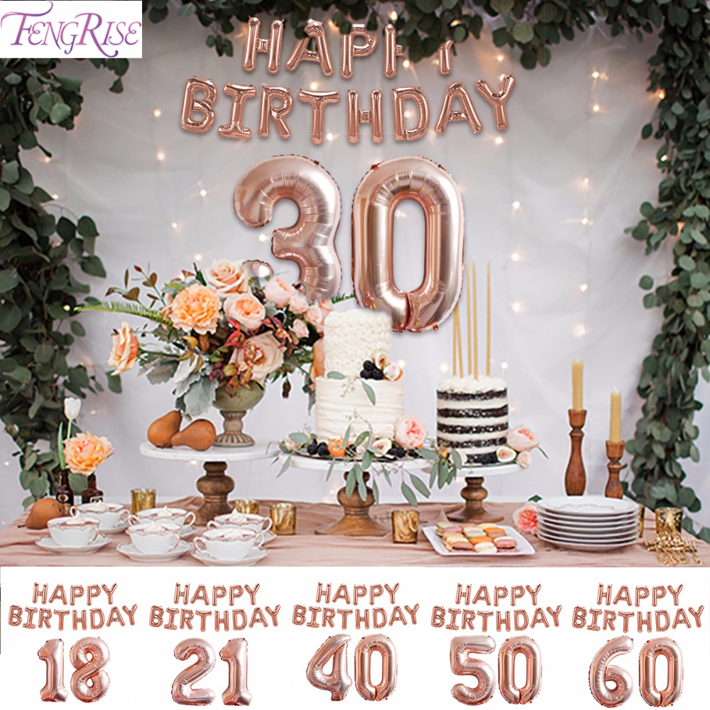 FENGRISE Rose Gold Balloon Champagne Number 18 21 30 40 50 60 Birthday Balloons Rose Gold Party Decoration Happy Birthday Decor