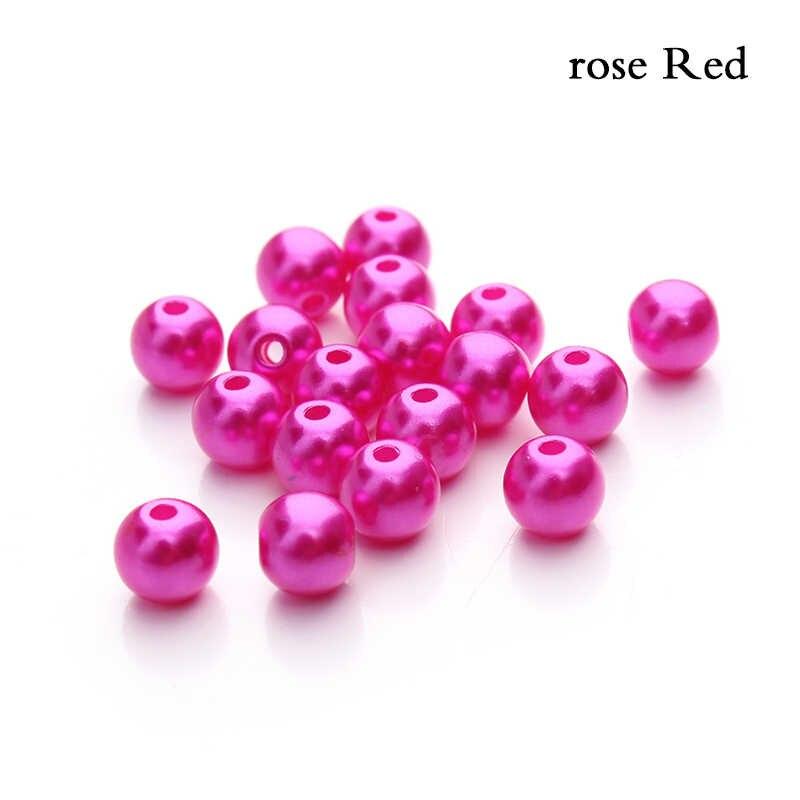 100PCS 6mm Imitation ABS Perle Perlen DIY Perlen Halskette Bracele Simulierte-perle Perlen Runde Kunststoff Lose Made von Schmuck