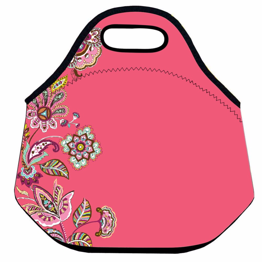 Retro Flower Lunch Bag for Women ,Neoprene Thermal Lunch Bag for Kids ,Pink Insulated Lunch Box Bag ,Picnic Box Bag,Lunch Tote